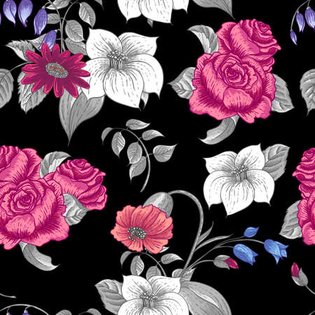 wildflowers: Seamless Floral Pattern with Roses and Wildflowers