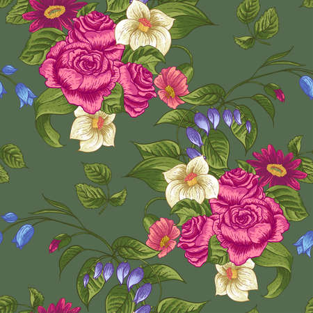 Seamless Floral Pattern with Roses and Wildflowers Vector