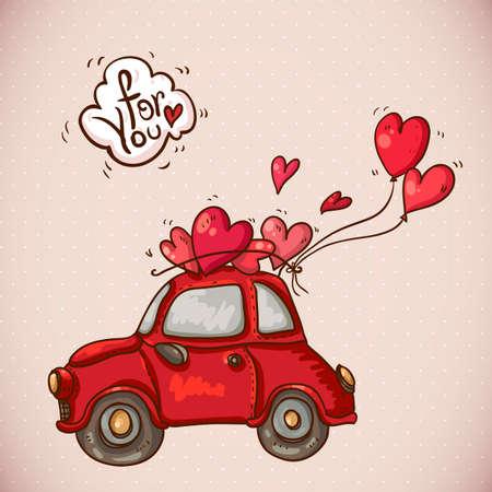 Doodle Tarjeta Día de San Valentín con el coche rojo Ilustración de vector