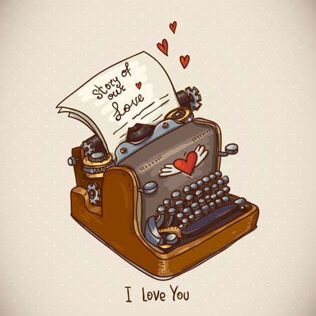 love letter: Doodle Vintage Greeting Card with Retro Typewriter Illustration