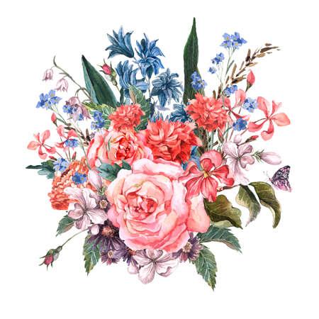 mazzo di fiori: Greeting Card Floral Bouquet di rose Archivio Fotografico