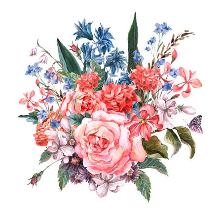 wild nature: Greeting Card Floral Bouquet with roses
