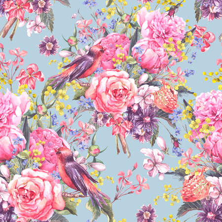 floral seamless pattern: Seamless Floral Watercolor Background