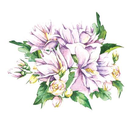 jasmine flower: Floral Bouquet with Blooming Jasmine