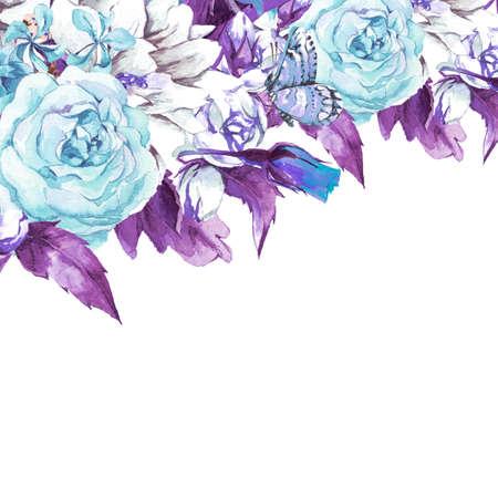 schmetterlinge blau wasserfarbe: Blau Sanfte Weinlese-Blumengrußkarte