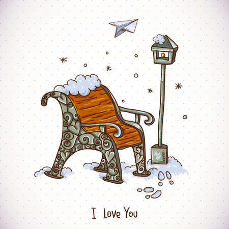 snowcovered: Vintage Winter Card with Snow-covered Bench Illustration