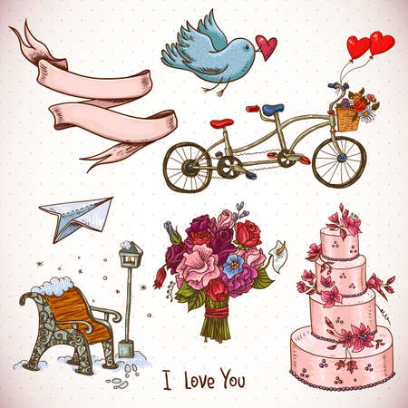 tandem bicycle: Doodle set elements of Valentines Day and Wedding