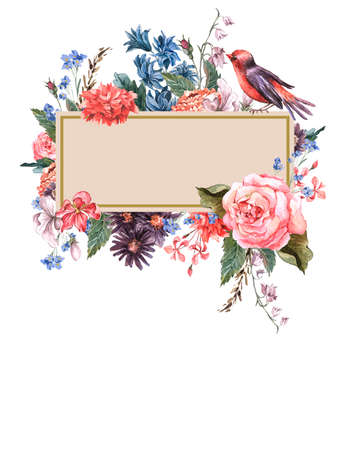 love bird: Floral Vintage Card with roses Stock Photo