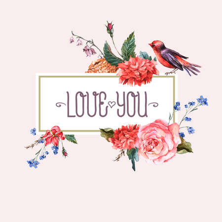 pajaritos: Tarjeta floral de la vendimia con las rosas y flores silvestres Vectores