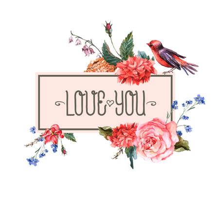 pajaros: Tarjeta floral de la vendimia con las rosas y flores silvestres Vectores