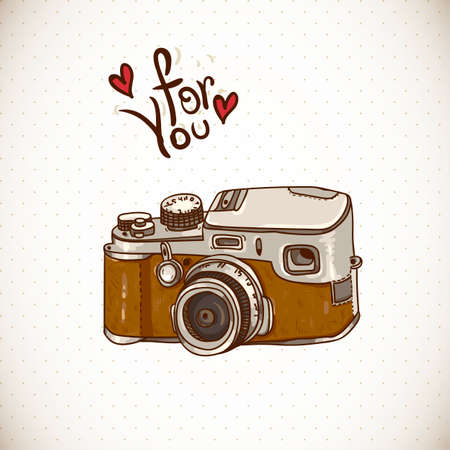 camera: Vintage Card with Retro Camera