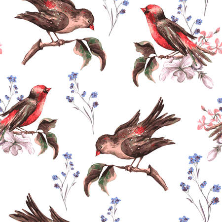 birds: Vintage Floral Seamless Background with Birds