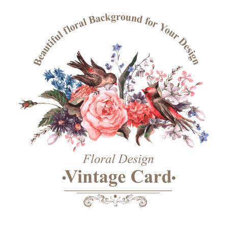pajaro: Tarjeta de felicitación de la vendimia con flores y pájaros.