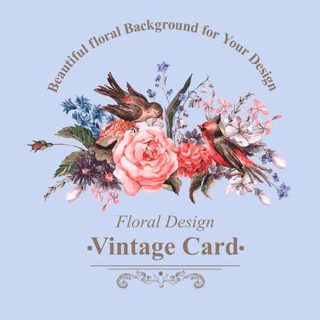 Vintage wenskaart met bloemen en vogels. Stock Illustratie