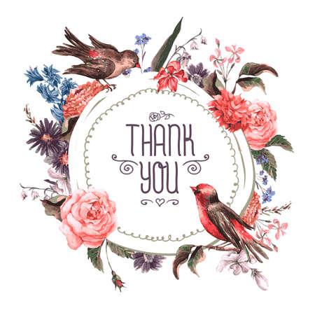 bouquet fleur: Carte de voeux vintage avec des fleurs et des oiseaux. Illustration