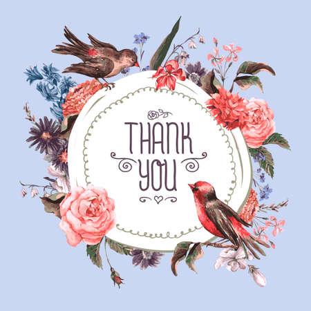 Tarjeta de felicitación de la vendimia con flores y pájaros. Foto de archivo - 37306219