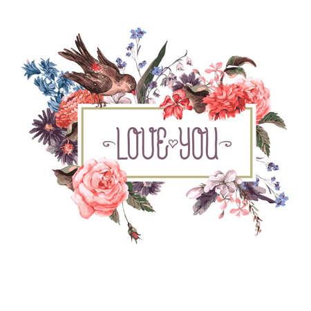 romantique: Carte de voeux vintage avec des fleurs et des oiseaux. Illustration