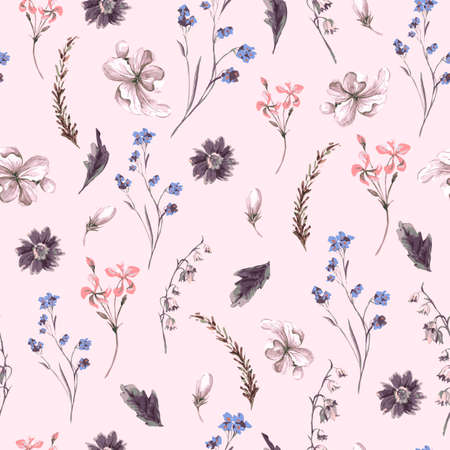 wildflowers: Vintage Seamless Background with Wildflowers