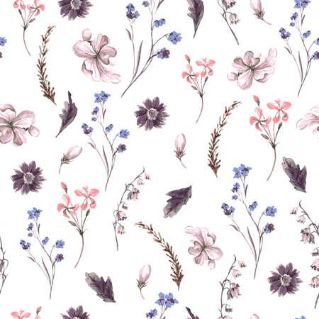 cổ điển: Bối cảnh Seamless Vintage với Hoa dại