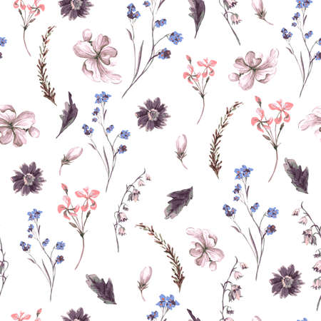 Vintage Seamless Background with Wildflowers
