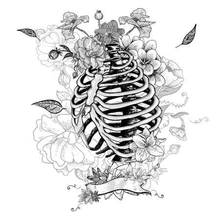 スケルトンの肋骨と花、ベクトル イラスト