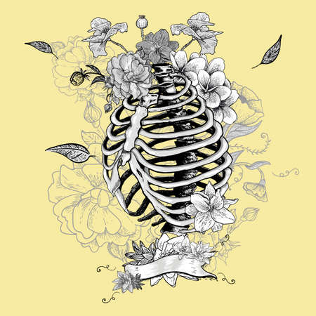 ribs: Skeleton Ribs and Flowers, Vector illustration