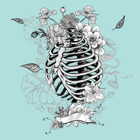 natural medicine: Skeleton Ribs and Flowers, Vector illustration
