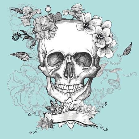 dia de muertos: Cr�neo y flores del D�a de los Muertos Vectores