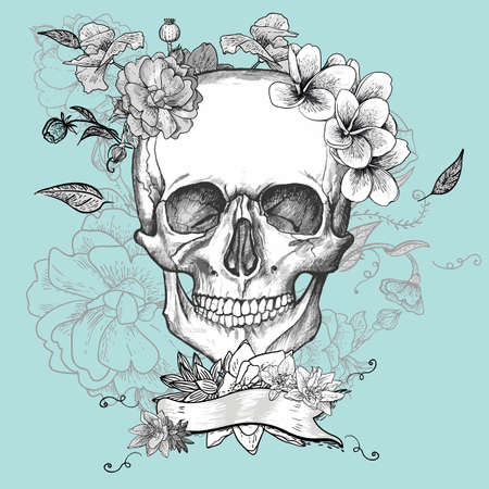 Skull and Flowers Day of The Dead Illustration