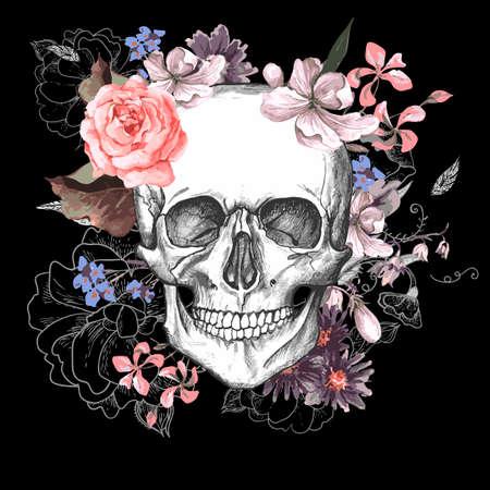rosas negras: Cr�neo y flores del D�a de los Muertos Vectores
