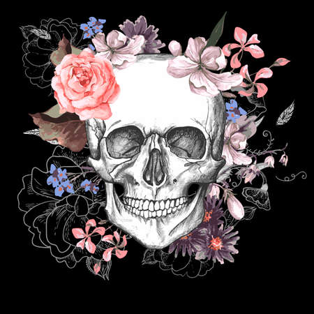 sugar skull: Skull and Flowers Day of The Dead Illustration