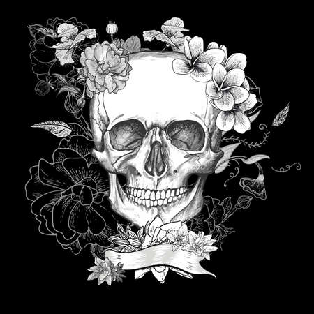 skull and bones: Skull and Flowers Day of The Dead Illustration