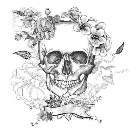 calaveras: Cráneo y flores del Día de los Muertos Vectores