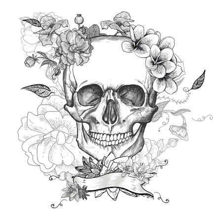 skull tattoo: Skull and Flowers Day of The Dead Illustration