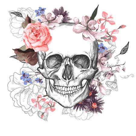 Skull and Flowers Day of The Dead Ilustração