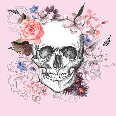 abstract tattoo: Skull and Flowers Day of The Dead Illustration