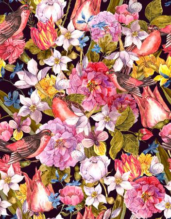 tulipan: Floral Vintage szwu tła z ptakiem Zdjęcie Seryjne