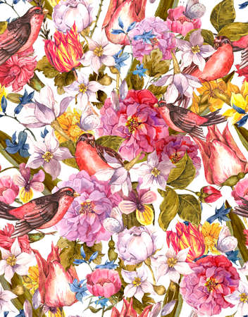 Floral Vintage Seamless Background with Bird photo