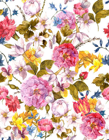 floral seamless pattern: Floral Vintage Seamless Watercolor Background