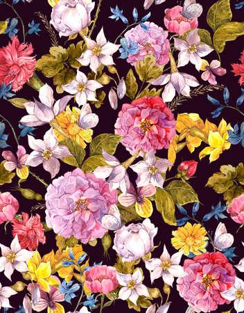 Blumenweinlese-Aquarell-Hintergrund Nahtlose
