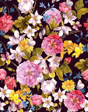 vintage floral pattern: Floral Vintage Seamless Watercolor Background
