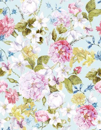 花のビンテージ シームレスな水彩画の背景 写真素材