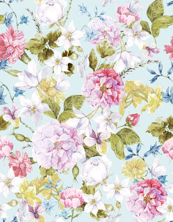 tulipan: Floral Vintage tło Akwarele Seamless