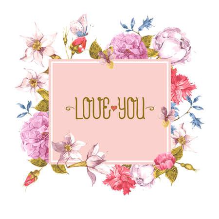 papillon rose: Carte de voeux d'aquarelle avec des fleurs en fleurs