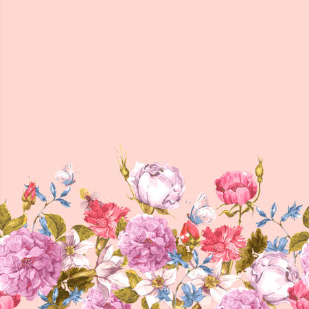 butterfly vintage: Floral Seamless Watercolor Border with Roses Illustration
