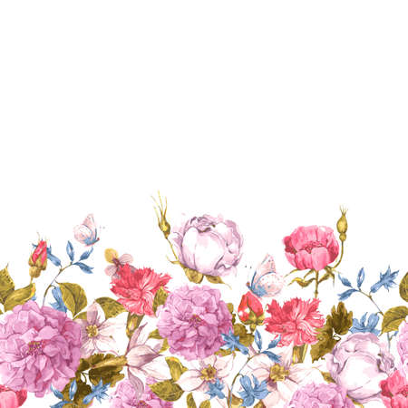 butterfly border: Floral Seamless Watercolor Border with Roses Illustration