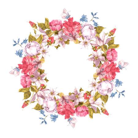circulo de personas: Tarjeta de la invitación con la guirnalda floral. Vectores