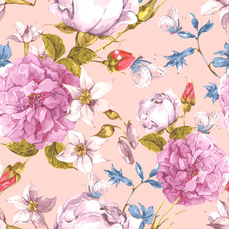 floral seamless pattern: Floral Seamless Vintage Background with Roses