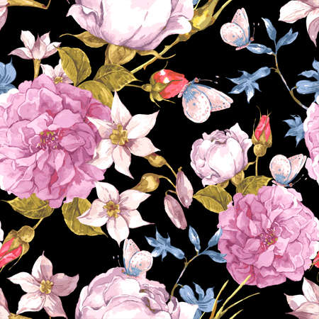 animal pattern: Floral Seamless Vintage Background with Roses
