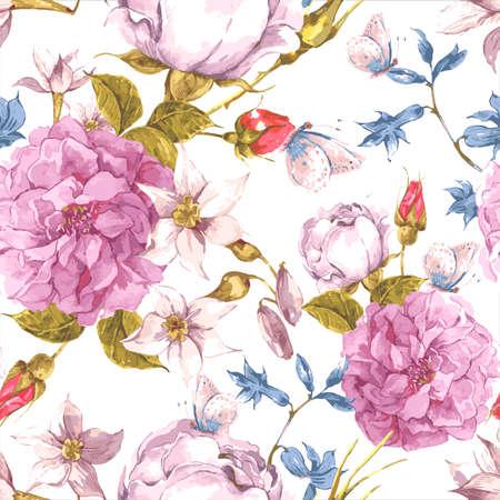 Bloemen Naadloze Vintage achtergrond met rozen